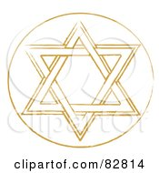 Royalty Free RF Clipart Illustration Of A Brown Star Of David In A White Circle by Pams Clipart