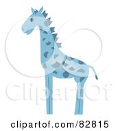 Royalty Free RF Clipart Illustration Of A Blue Baby Giraffe In Profile by Pams Clipart