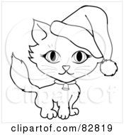 Black And White Outline Of A Kitty Cat Wearing A Bell Collar And Santa Hat