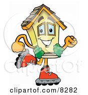 Clipart Picture Of A House Mascot Cartoon Character Roller Blading On Inline Skates