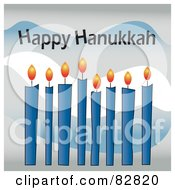 Row Of Lit Blue Candles With Happy Hanukkah Text Above