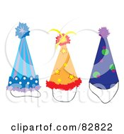 Royalty Free RF Clipart Illustration Of A Digital Collage Of Three Colorful Party Hats by Pams Clipart