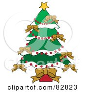 Royalty Free RF Clipart Illustration Of A Christmas Tree Adorned In Gold Bows Red Bead Garlands And Flocked Branches by Pams Clipart