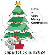 Royalty Free RF Clipart Illustration Of A Have A Very Merry Christmas Greeting By A Kitten Under A Christmas Tree
