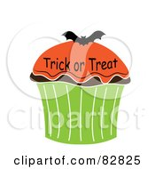Royalty Free RF Clipart Illustration Of A Trick Or Treat Halloween Cupcake With Orange Frosting And A Bat by Pams Clipart