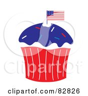 Royalty Free RF Clipart Illustration Of A Patriotic Independence Day Cupcake With An American Flag And Blue Frosting by Pams Clipart