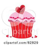 Royalty Free RF Clipart Illustration Of A Valentines Cupcake With Pink Frosting And A Be Mine Heart Candy by Pams Clipart