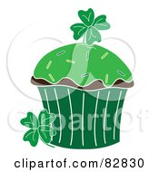 St Patricks Day Cupcake With Green Frosting Sprinkles And Clovers