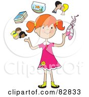 Royalty Free RF Clip Art Illustration Of A Happy Red Haired Girl Juggling Her Friends School Books Goldfish Parents And Ballet Slippers by Maria Bell