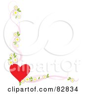 White Background Bordered With A Red Heart And Apple Blossoms With Pink Ribbons