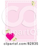 Pink Background Bordered With Apple Blossoms And A Pink Heart