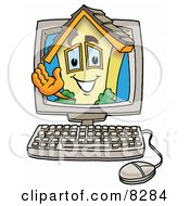 Clipart Picture Of A House Mascot Cartoon Character Waving From Inside A Computer Screen