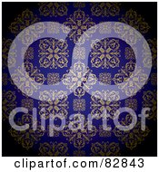 Royalty Free RF Clipart Illustration Of A Gold And Royal Blue Floral Patterned Wallpaper Background