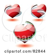 Royalty Free RF Clipart Illustration Of A Digital Collage Of 3d Red Hearts With Ribbons Around Them by michaeltravers