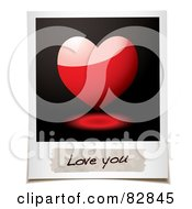 Royalty Free RF Clipart Illustration Of A Polaroid Picture Of A Shiny 3d Heart And A Message Reading Love You by michaeltravers