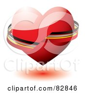 Royalty Free RF Clipart Illustration Of A Black Gray Yellow And Red Ribbon Around A Shiny 3d Red Heart by michaeltravers