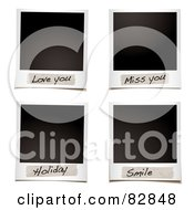 Royalty Free RF Clipart Illustration Of A Digital Collage Of Blank Instant Photos With Love You Miss You Holiday And Smile Messages by michaeltravers