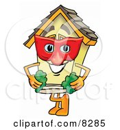 Clipart Picture Of A House Mascot Cartoon Character Wearing A Red Mask Over His Face