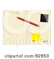 Royalty Free RF Clipart Illustration Of A Pencil Polaroid Sticky Note And Paperclips On A To Do List In A Notebook by michaeltravers