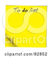 Royalty Free RF Clipart Illustration Of A Turning Yellow To Do List Sticky Note by michaeltravers