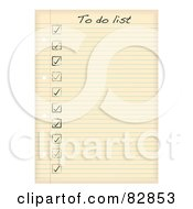 Royalty Free RF Clipart Illustration Of Check Marks On A To Do List Written On Aged Ruled Paper by michaeltravers