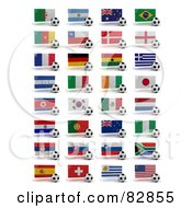 Royalty Free Clipart Illustration Of A Digital Collage Of Soccer World Cup 2010 Participating Countries With Balls And National Flags