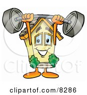 Clipart Picture Of A House Mascot Cartoon Character Holding A Heavy Barbell Above His Head
