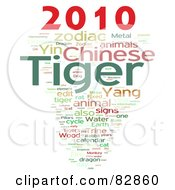 Royalty Free RF Stock Illustration Of A Collage Of Words 2010 Tiger Year Version 5