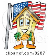 Clipart Picture Of A House Mascot Cartoon Character Pledging Allegiance To An American Flag