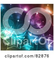 Royalty Free RF Clipart Illustration Of A Glittery Background Of Colorful Stars And Lights