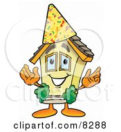 Clipart Picture Of A House Mascot Cartoon Character Wearing A Birthday Party Hat