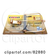 Royalty Free RF Clipart Illustration Of A 3d Credit Card With A Sneaky Trap