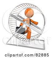 Royalty Free RF Clipart Illustration Of A 3d Orange Businessman Running In A Hamster Wheel by Leo Blanchette
