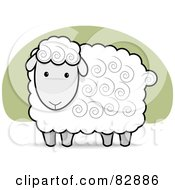 Royalty Free RF Clipart Illustration Of A Cute White And Gray Sheep With Swirls In His Hair