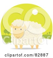 Royalty Free RF Clipart Illustration Of An Adorable Beige Sheep With Swirls In His Hair In A Green Landscape