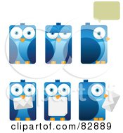 Digital Collage Of Six Rectangular Blue Birds With Envelopes Chat Balloons And Different Expressions