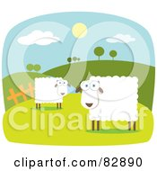 Royalty Free RF Clipart Illustration Of Two Square Bodied Sheep In A Pasture Near Rolling Hills With White Borders by Qiun