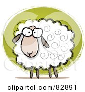 Royalty Free RF Clipart Illustration Of A Pleasant Sketched Sheep With Swirls In His Hair