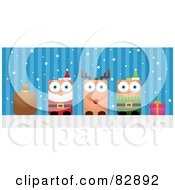 Royalty Free RF Clipart Illustration Of A Blocky Sack Santa Rudolph The Red Nosed Reindeer Elf And Present