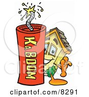 Clipart Picture Of A House Mascot Cartoon Character Standing With A Lit Stick Of Dynamite