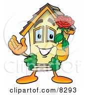 Clipart Picture Of A House Mascot Cartoon Character Holding A Red Rose On Valentines Day