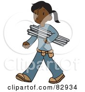 Female Indian Plumber Walking And Carrying Pipes