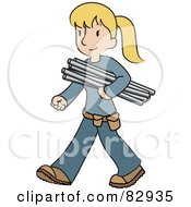 Royalty Free RF Clipart Illustration Of A Female Caucasian Plumber Walking And Carrying Pipes by Rosie Piter