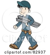 Male Caucasian Plumber Walking And Carrying Pipes