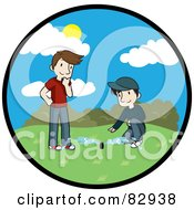 Royalty Free RF Clipart Illustration Of A Circle Scene Of Two Caucasian Men A Landscaper And Homeowner Discussing The Newly Installed Irrigation Sprinkler System In A Yard