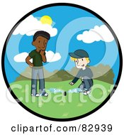 Royalty Free RF Clipart Illustration Of A Circle Scene Of A Caucasian Landscaper Discussing The Newly Installed Irrigation Sprinkler System With A Black Man