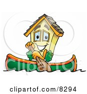Clipart Picture Of A House Mascot Cartoon Character Rowing A Boat