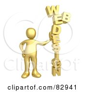 3d Golden Person Leaning Against The Words WEB DESIGN