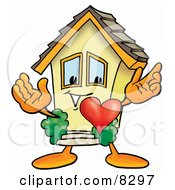 Clipart Picture Of A House Mascot Cartoon Character With His Heart Beating Out Of His Chest