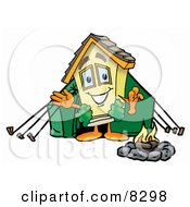 Clipart Picture Of A House Mascot Cartoon Character Camping With A Tent And Fire